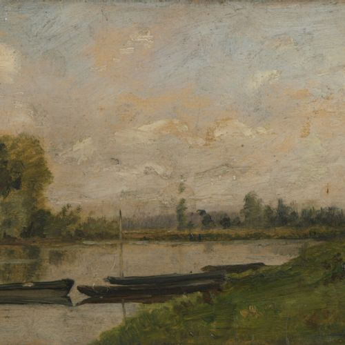 Charles François DAUBIGNY (Paris 1817 1878)  Boats on the river  Oak panel, one …