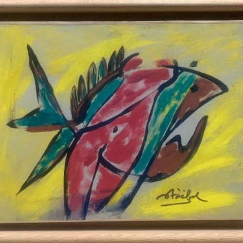 STOEBEL Edgar (1909 2001)  Composition au poisson et au nu  Toile marouflée sign…