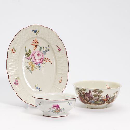 OVAL PLATE, KUMME AND PASSIGE BOWL WITH FLOWERS. Ludwigsburg, 2 x Frankenthal. P…