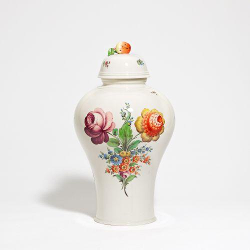 Nymphenburg large lidded vase with flower decoration. Nymphenburg. Porcelain, co…