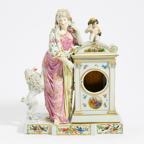 "Meissen WATCH CASE ""LADY WITH POODLE"". Meissen. Porcelain, painted in colors and…"