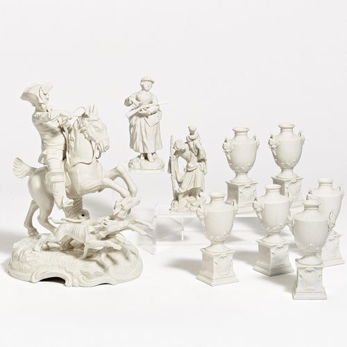 Nymphenburg HUNTING GROUP, 6 SMALL VASES AS TABLE DECORATION, FIGURE ST. CHRISTO…