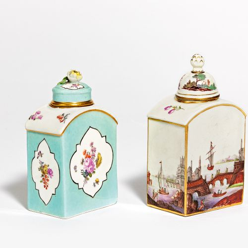 2 TEEDOS. Meissen and Nymphenburg respectively. Porcelain, coloured and sparingl…