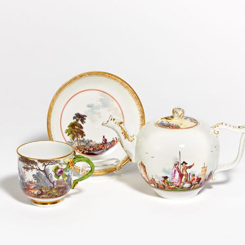 Meissen TEAPOT WITH SHOPPING CART, CUP & UT WITH LANDSCAPE AND HUNTING SCENES. M…