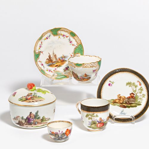 Meissen SUGAR BOWL, 1 CUP WITH UT, POT WITH VARIOUS. DECORATIONS. Meissen. House…