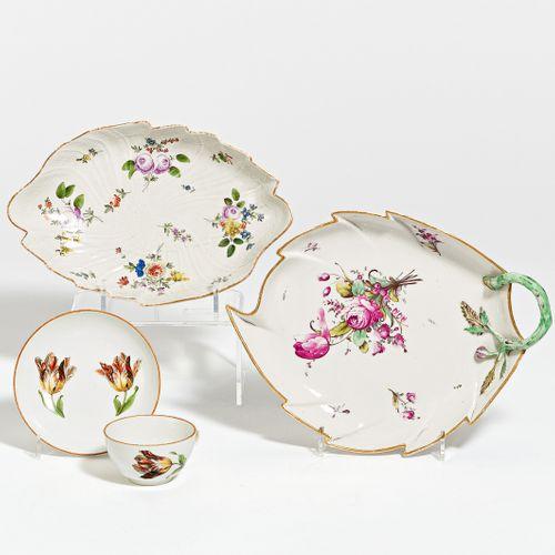 LEAF BOWL, PASSIGE BOWL & CUP WITH UT. Nymphenburg / Vienna / Meissen. Porcelain…