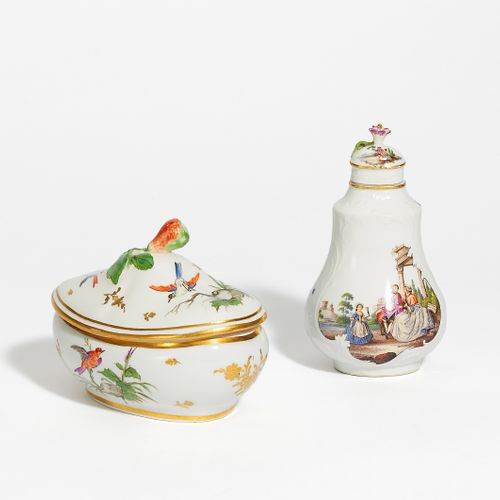 1 TEA CADDY & 1 SMALL. Lidded vessel. Meissen and possibly France. Porcelain, co…