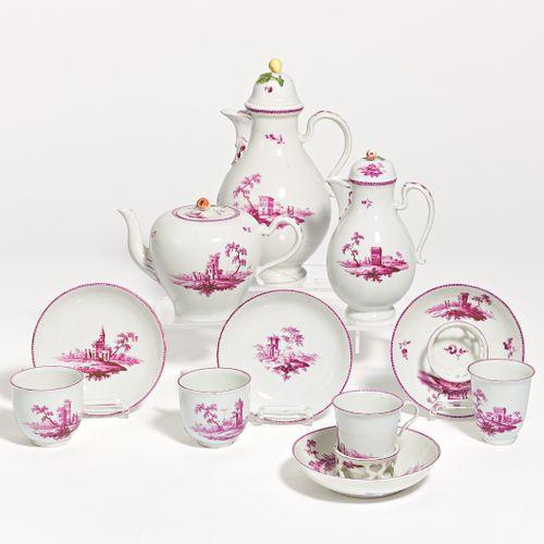 Vienna COFFEE AND TEA SERVICE WITH PURPLE LANDSCAPES. Vienna. Porcelain, decorat…