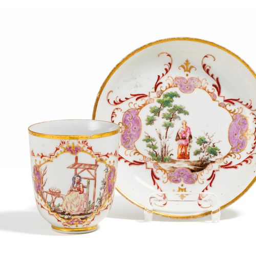 Presumably Meissen PORCELAIN CUP AND SAUCER WITH HOUSE PAINTING. Presumably Meis…