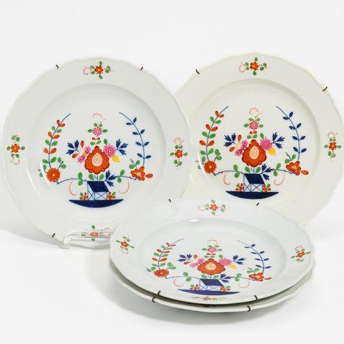 Meissen 4 PLATES TABLE PATTERN. Meissen. Porcelain, colourfully painted. Ø 25cm.…