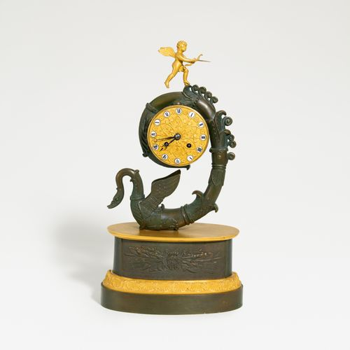 Paris BRONZE PENDULUM CLOCK WITH SWAN. Paris. Date: Around 1840. Technique: Part…