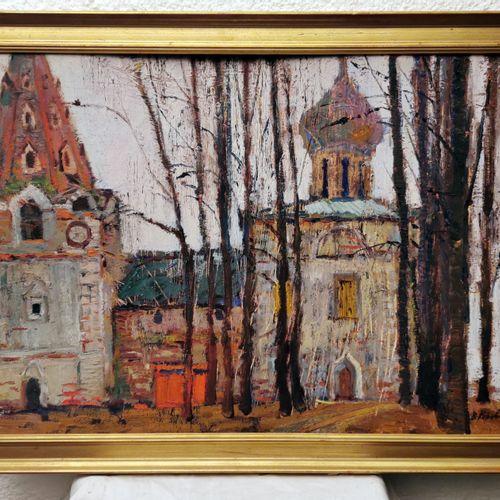 "V.I.KOROVIN V.I.Korovin SBD,标题,签名,背面有1963年 ""俄罗斯修道院 ""的日期,无框 70x50和79x59.5"
