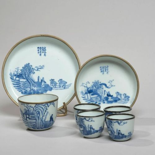 VIETNAM, Hue XIXe siècle Seven piece tea service comprising two cups and five so…