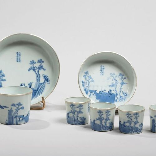 VIETNAM, Hue XVIIIe/XIXe siècle Tea service including five sorbets and two porce…