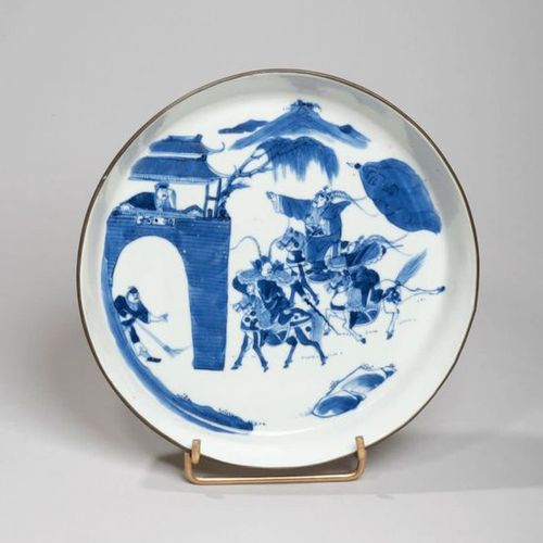 VIETNAM, Hue XIXe siècle Porcelain bowl with blue decoration under cover of warr…