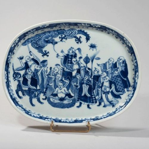 VIETNAM, Hue XIXe siècle Oval porcelain dish decorated in blue with the eighteen…
