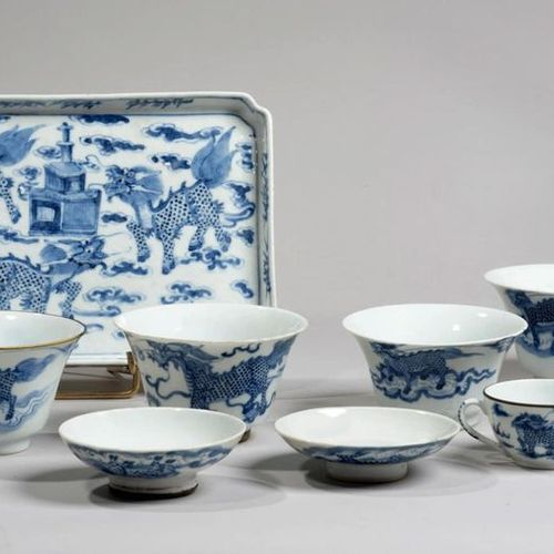 VIETNAM XIXe siècle Set consisting of a rectangular tray, four small bowls and t…