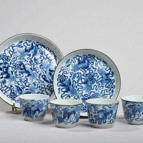 VIETNAM, Hue XIXe siècle Six piece tea set consisting of four sorbets and two po…