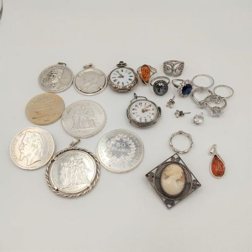 Silver LOT (min. 800‰) including: two POCKET WATCHES. Wear and tear and shocks. …