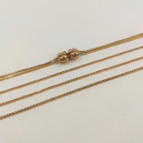 Long CHAIN GILETIERE in pink gold (750‰) holding a double chain and two runners …