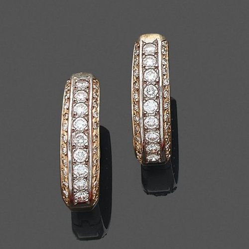 """Pair of gold """"Creole"""" EARRINGS PENDANTS (750‰) set with three rows of brilliant …"""
