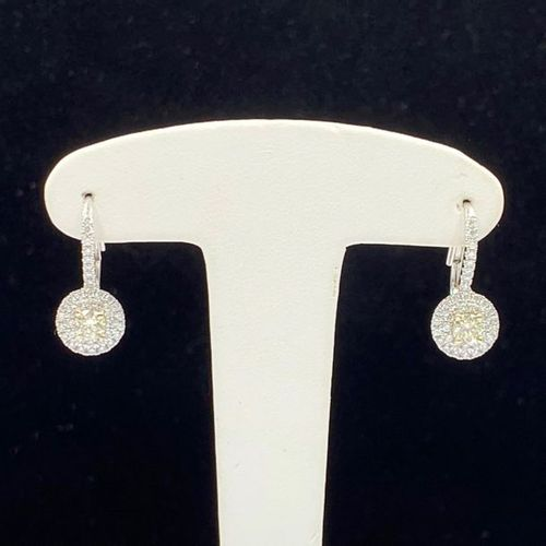 """Pair of circular """"sleeper"""" EARRINGS in white gold (750‰) paved with brilliant cu…"""