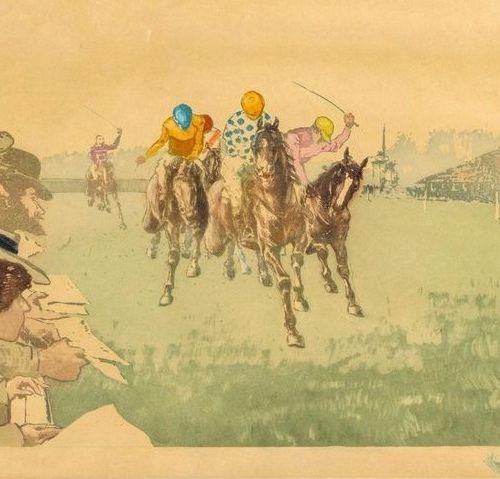 Richard RANFT (1862 1931) •La course hippique Aquatinte, impression en couleurs.…