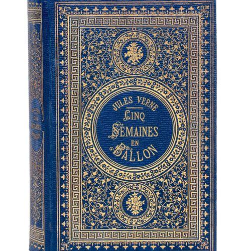 [Afrique] Cinq semaines en ballon par Jules Verne. Illustrations de Riou et Mont…