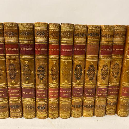 Honoré de BALZAC, 23 volumes reliés in 8, essentiellement Eugénie Grandet, Colon…