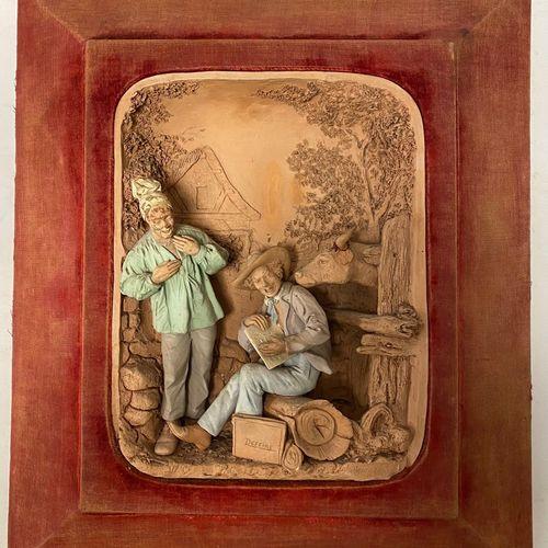 BEAUGRAND. Le marchand ambulant de dessins Sculpture en haut relief en terre cui…