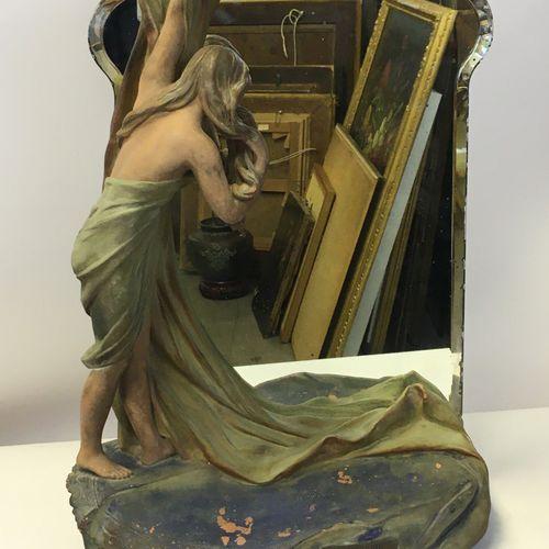 Lorenzo VERGNANO (1850 1910). Coquetterie Sculpture en terre cuite polychrome (u…