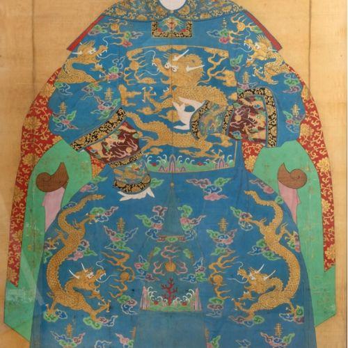 CHINE Fin du XIXème siècle Portrait d'une dignitaire Représentée assise, vêtue d…