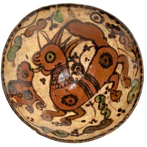Coupe médiévale à décor polychrome zoomorphe Terre cuiteà décor polychrome sous…