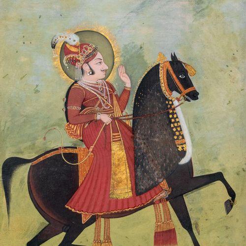 Portrait d'un Maharaja sur son cheval, probablement Ari Singh Encre, pigments et…