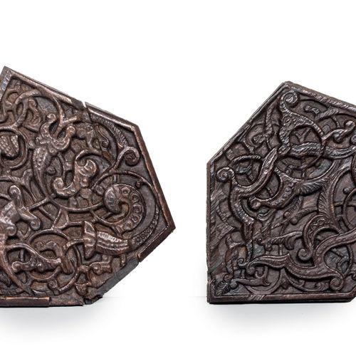 Deux beaux polygones d'assemblage Mamelouks Bois Levant, XIIIe XIVe siècle, Époq…