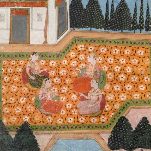 Courtisans sur la terrasse d'un palais Encre, pigments polychromes sur papier In…