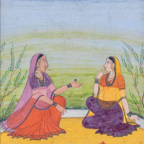 Jeunes femmes conversant Encre, pigments et or sur papier Inde du Nord, XVIIIe s…