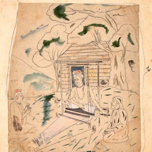 Lot de deux dessins composé : d'un portrait d'un homme de profil Mine de plomb, …