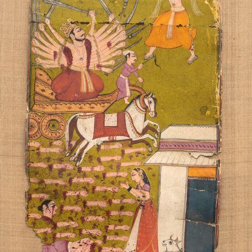 Scène du Ramayana La destruction de Ravana Encre, pigments polychromes et or sur…
