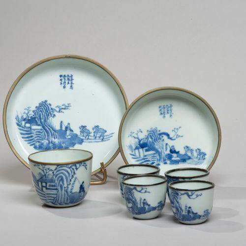VIETNAM, Hue XIXe siècle Service à thé de sept pièces comprenant deux coupes et …