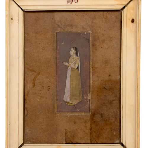 Miniature indienne dans un cadre en ivoire Ecole Anglo Indienne, fin du XVIIIe d…