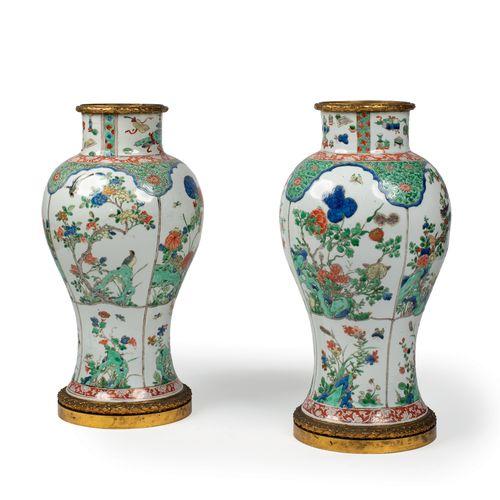 CHINE Epoque YONGZHENG (1723 1735) Paire de potiches en porcelaine décorées en é…