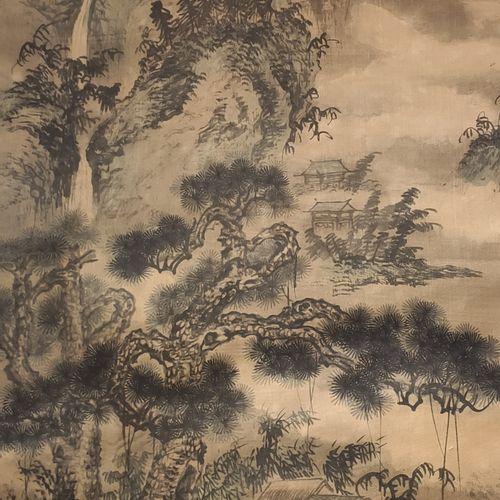 CHINE Peinture sur rouleau à décor de paysage montagneux perdu dans la brume. In…