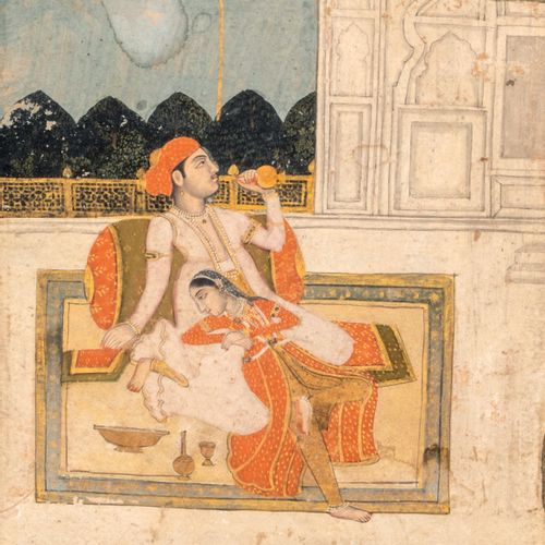 Couple sur une terrasse Encre, pigments et or sur papier, montée en page d'album…