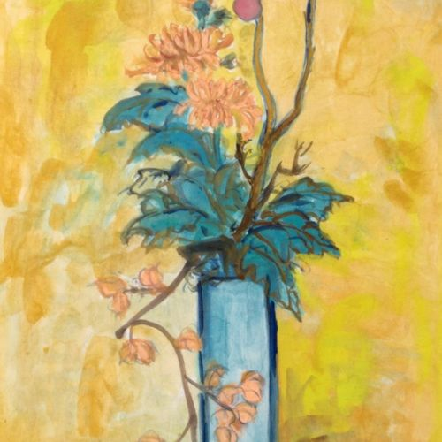 TANG HAIWEN Vase de fleurs sur fond Jaune Aquarelle et gouache sur papier. Signé…