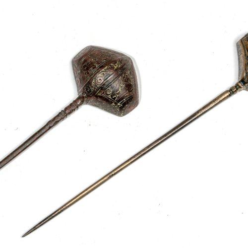 Deux cuillères persanes en bronze Kafche Fonte de laiton Iran, Khorassan, XIIe X…