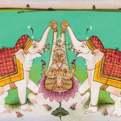 Miniature représentant Gajalakshmi Pigments polychromes et or sur papier Inde du…