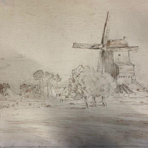 Jean Charles CAZIN (1841 1901) • Moulin dans un paysage Dessin et huile sur toil…