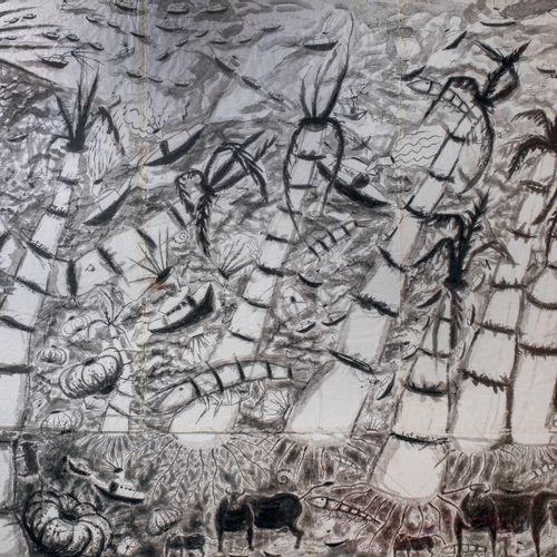 Jean CORTOT (1925 2018) • Paysage aux bateaux et aux animaux Encre sur papier su…