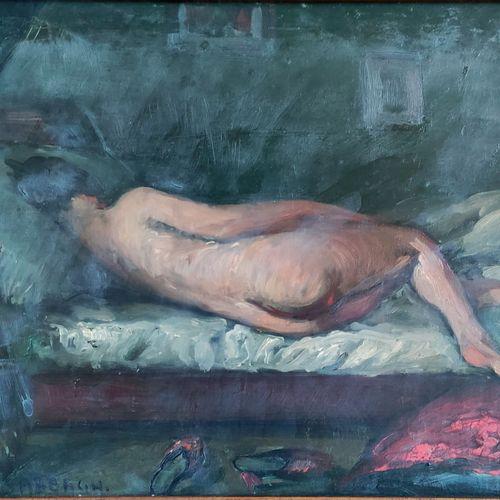 Georges Hanna SABBAGH (1887 1951) • Nu allongé Huile sur panneau, signée en bas …